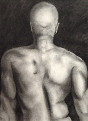 """Male Back Study"", 2001, Charcoal on Paper, 15 1/4 x 11 5/16 in., by David Jay Spyker"