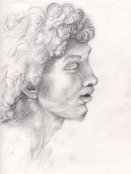 """After Raphael's head study for the Transfiguration"", 2000, Graphite on Paper, 12 x 9 in., by David Jay Spyker"