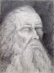 """Old Man With Closed Eyes"", 2000, Graphite on Textured Paper, 12 x 9 in., by David Jay Spyker"