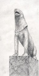 """Stone Lion"", 2000, Graphite on Paper, 7 1/4 x 3 3/4 in., by David Jay Spyker"