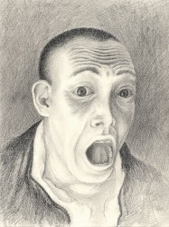 """Terrified Man"", 2001, Graphite on Paper, 11 3/8 x 9 in., by David Jay Spyker"