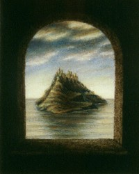 """A Distant Empire"", 1998, Acrylics on Canvas Mounted on Hardboard, 4 1/2 x 3 3/4 in., by David Jay Spyker"
