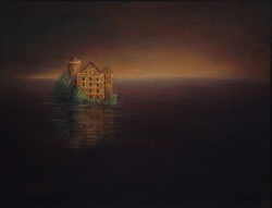 """A House on the Water"", 1999, Acrylics on Canvas Mounted on Hardboard, 7 x 9 in., by David Jay Spyker"