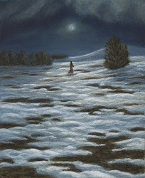 """A Late Winter's Night"" (detail), 2005, Acrylics on Canvas, 5 x 4 in., by David Jay Spyker"