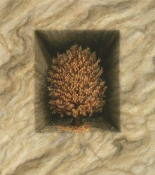 """The Artifact (A Natural History)"", 1997, Acrylics on Canvas Mounted on Hardboard, 9 3/8 x 8 5/16 in., by David Jay Spyker"