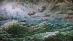 """Adrift"", 2001, Acrylics on Canvas, 14 x 24 in., by David Jay Spyker"
