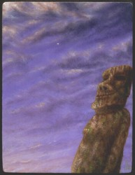 """""""Eveningstar and Silence"""", 1995, Acrylics on Panel, 4 7/16 x 3 3/8 in., by David Jay Spyker"""