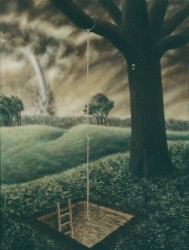 """Fear, Courage, Sanctuary"", 1996, Acrylics on Panel, 12 x 9 in., by David Jay Spyker"