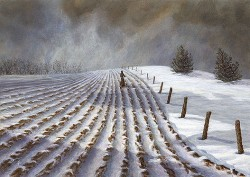 """Fenceline"", 2005, Acrylics on Hardboard, 5 x 7 in., by David Jay Spyker"