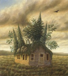 """Homestead"", 2000, Acrylics on Hardboard, 9 7/16 x 8 3/8 in., by David Jay Spyker"