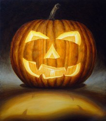"""Jack o' Lantern, 2001, Acrylics on Canvas, 25 x 22 in., by David Jay Spyker"