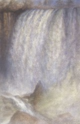 """Niagara"", 2009, Acrylic Wash, Drybrush, and Paint on Cotton Watercolor Paper, 8 1/2 x 5 1/2 in., by David Jay Spyker"