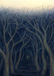 """Night Falls Sooner in the Forest"", 1999, Acrylics on Canvas Mounted on Hardboard, 6 7/8 x 5 in., by David Jay Spyker"