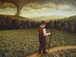 """On the Walk Home"", 2000, Acrylics on Hardboard, 10 x 13 in., by David Jay Spyker"