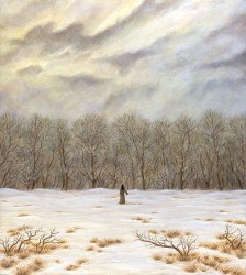 """One Winter Day"", 2001, Acrylics on Hardboard, 9 3/8 x 8 3/8 in., by David Jay Spyker"