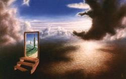 """Passage Through Vertigo"", 1996, Acrylics on Copper Panel, 5 3/4 x 8 7/8 in., by David Jay Spyker"