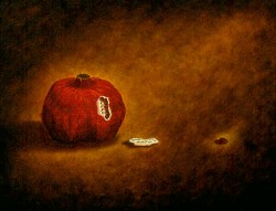 """Pomegranate"", 1997, Acrylics on Panel, 9 x 12 in., by David Jay Spyker"