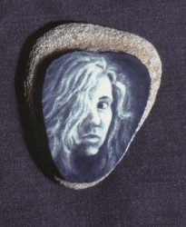 """Seashell"", 1995, Acrylics on Sandstone, 1 5/8 x 1 1/4 in., by David Jay Spyker"
