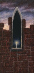 """The Dying Light"", 1996, Acrylics on Canvas Mounted on Panel, 3 3/16 x 1 3/4 in., by David Jay Spyker"