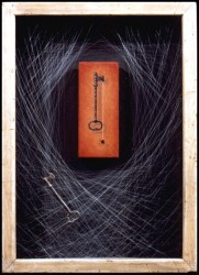 """The Parlor"", 1996, Acrylics on Canvas Mounted on Panel, Nylon Monofilament, and Steel Skeleton Key in a Custom Shadow Box, 14 x 10 in. overall, by David Jay Spyker"
