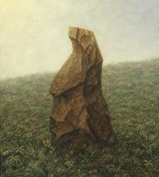 """The Stone"", 1999, Acrylics on Canvas Mounted on Hardboard, 9 1/2 x 8 3/8 in., by David Jay Spyker"