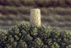"""The Tower"", 2001, Acrylics on Hardboard, 5 1/2 x 7 15/16 in., by David Jay Spyker"