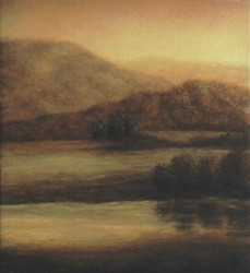 """The View Remains"", 1998, Acrylics on Panel, 3 27/32 x 3 1/2 in., by David Jay Spyker"