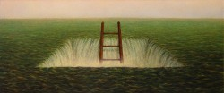"""To Climb Out"", 1999, Acrylics on Canvas, 9 x 20 1/2 in., by David Jay Spyker"
