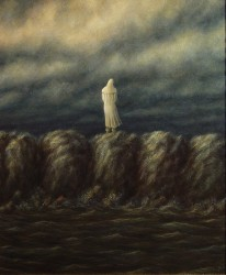 """Waiting for the Tide"", 2000, Acrylics on Canvas Mounted on Hardboard, 12 x 10 in., by David Jay Spyker"