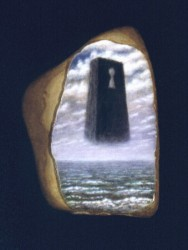 """""""The Key to the Hole in the Sky"""", 1995, Acrylics on Stone, c. 2 1/2 x 1 1/2 in., by David Jay Spyker"""