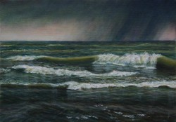 """Rain Storm Off South Haven"", 2010, Acrylics on Canvas, 5 x 7 in., by David Jay Spyker"