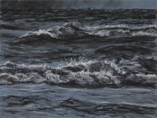 """""""Offshore Lightning"""", 2010, Charcoal and White Conte on Toned Paper, 9 x 12 in., by David Jay Spyker"""