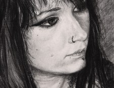"""Christmas Scarf"", 2011, Charcoal and Conte on Paper, Detail, by David Jay Spyker"