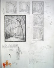 """Summer Taking Her Leave, Study Drawings"", 2001, Graphite on Paper, 14 x 11 in., by David Jay Spyker"