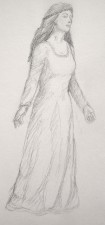 """Sketch of a Woman in a Dress"", 2002, Graphite on Paper, Sketchbook Excerpt, by David Jay Spyker"