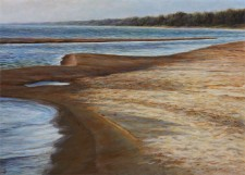 """October Sand Bar"", 2012, Acrylics on Hardboard, 5 x 7 in., by David Jay Spyker"
