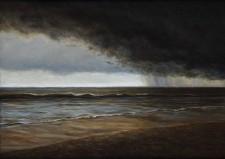"""""""Rolling In"""", 2012, Acrylics on Hardboard, 5 x 7 in., by David Jay Spyker"""