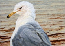 """Self-Portrait in the Morning as a Gull"", 2012, Acrylics on Hardboard, 5 x 7 in., by David Jay Spyker"