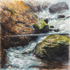 """Trout Run Rock Fall"", 2010, Watercolor/Drybrush on Paper, 12 x 12 in., by David Jay Spyker"